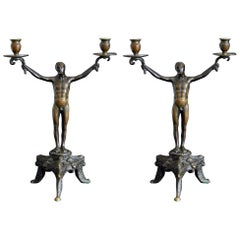 """""""Two-Arm Candelabra with Male Nudes,"""" Pair of Renaissance Revival Bronzes"""
