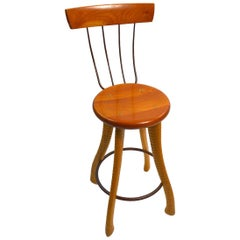 Ax Handle Stool by Brad Smith with Pitch Fork Backrest