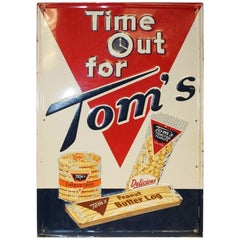 1958 Tom's Toasted Peanuts Embossed Tin Sign