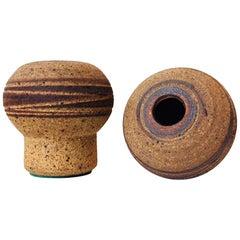 Pair of Danish Mushroom Stoneware Vases by Jørgen Mogensen, 1960s Own Studio