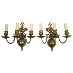 Four 19th Century Classic Dutch Baroque Style Brass Three-Light Sconces
