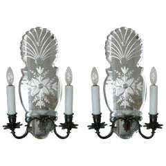 Pair of Early Georgian Style Wheel Cut Mirror Back Two-Light Sconces
