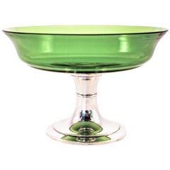 Sterling Compote with Green Glass