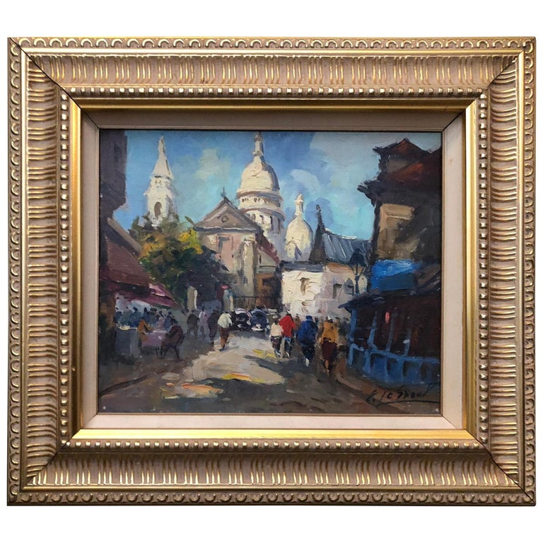 Signed Vintage Oil on Canvas Impressionistic French Street Scene