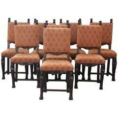 Wonderful Carved Walnut 1920s Set of Eight Spanish Revival Chairs