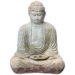 Old Vintage Buddha Cement Chinese Art Figure Sculpture Zen Meditation Garden