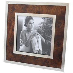 Italian Richard Ginori Chrome and Burled Wood Picture Photo Frame
