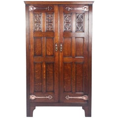 Late 19th Century Arts & Crafts Two-Door Hall Wardrobe with Ornate Mounts