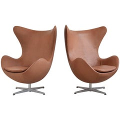 Arne Jacobsen Pair of Egg Chairs by Fritz Hansen
