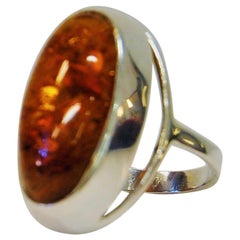 Scandinavian Silver Ring with Amber Stone 1960s, Denmark