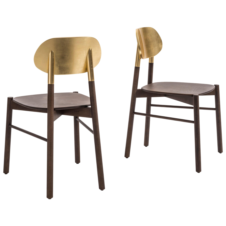 Bokken Chair, Golden Leaf, Minimalist Design with a Precious Touch