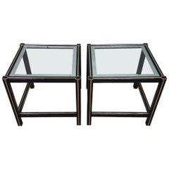 Pair of French Black Coated Side Tables with Gilt Strips and Glass, 1980s