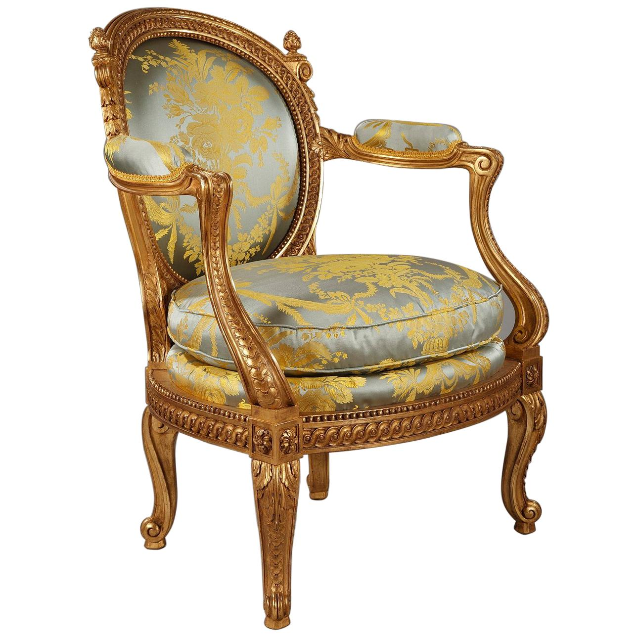 Charming Childrenu0027s Gilded Wood Armchair After G. Jacob For Sale