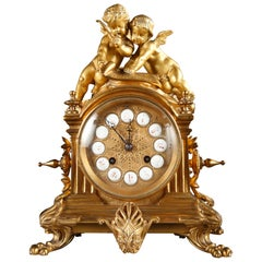 D'Aureville and Chameroy, Maison Barbot Gilded Bronze Clock with Cupids
