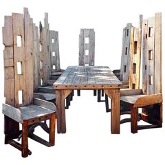 Magnificent Garden Dining Table with Ten Matching Chairs Reclaimed Rustic