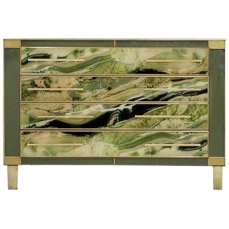 L.A. Studio Sideboard with Four Drawers Made in Colored Glass. Italy