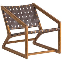 Midcentury Design and Danish Look Wooden and Leather Lounge Armchair