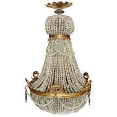 1890 Antique Empire Brass Chandelier Crystal Lamp Lustre Art Nouveau Rarity Wow