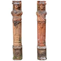Pair of Antique Terracotta Terms of Classical Design