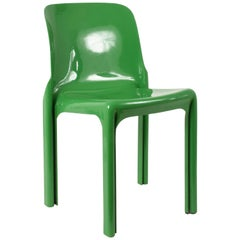 Italian Chair by Vico Magistretti for Artemide, Selene Chair Green, Italy, 1969