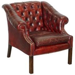 Rare Midcentury Chesterfield Lutyen's Style Viceroy's Oxblood Leather Armchair