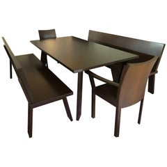 Sophisticated Bulthaup Dining Table with Two Benches and Two Armchairs