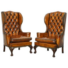 Thomas Chippendale Chesterfield Victorian Wingback Armchairs Brown Leather, Pair