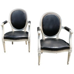 Pair of Classy Black Leather and White Painted Louis XVI Fauteuils Armchairs