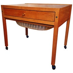 Danish Modern Sewing Table on Wheels