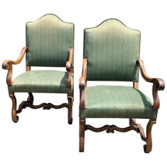 Pair of Large Carved Wood and Upholstered Throne Shaped Armchairs