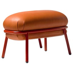 Grasso Stool in Four Leather Options and Four Painted Tubular Steel Colorways