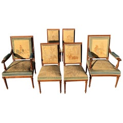 Magnificent Set of French Antique Louis XVI Aubusson Tapestry Dining Chairs