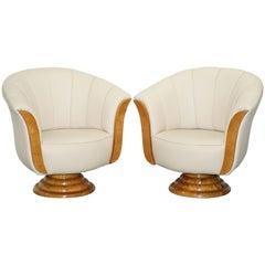 Pair of Original Restored Art Deco Tulip Armchairs Cream Leather Maple
