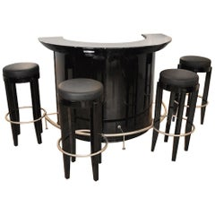 Art Deco Design Bar with Four Stools
