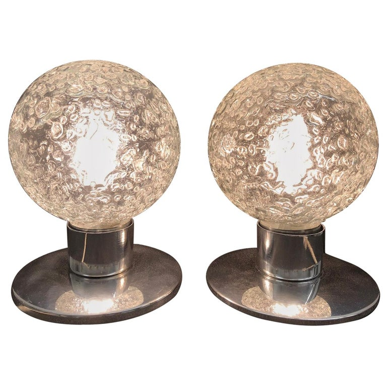 One Pair Petite Doria Leuchten Ice Glass Ball Side Table Lamps For Sale