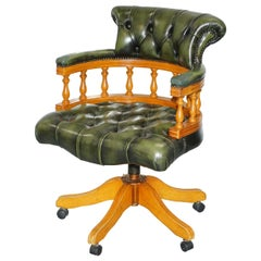 Yewwood Chesterfield Directors Green Leather Executive Captains Office Chair
