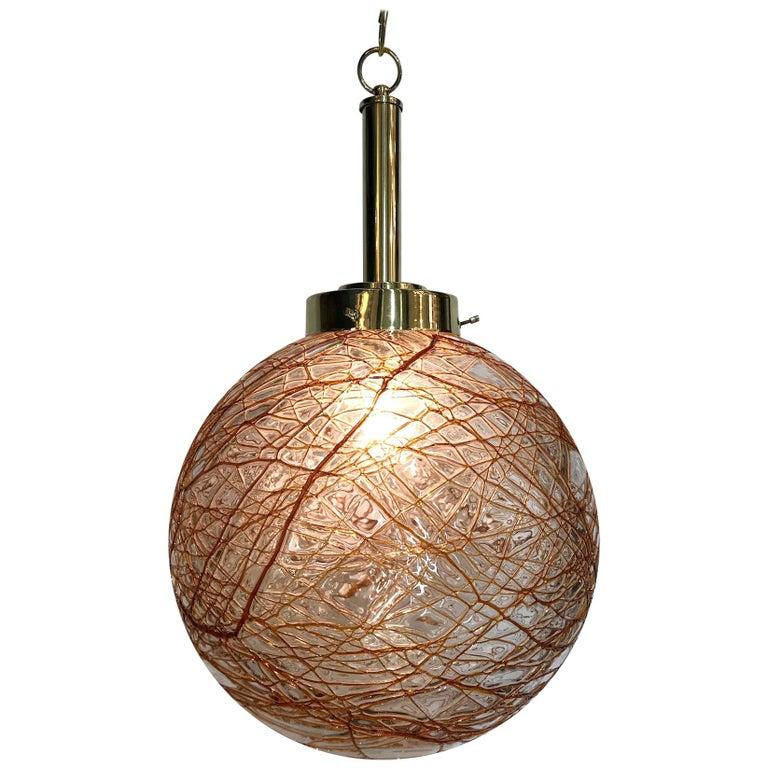 Italian 1970s Glass Globe Pendant Light