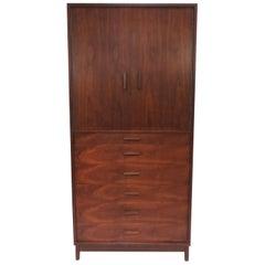 Mid-Century Modern Tall Wardrobe Dresser in Walnut, circa 1960s