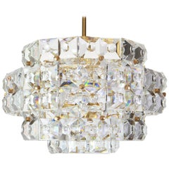 Stunning Chandelier, Brass and Crystal Glass by Kinkeldey, Germany, 1970s