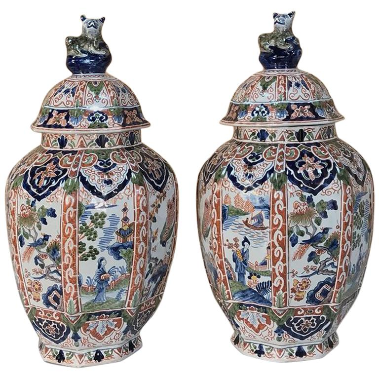 Large Pair of 19th Century Hand-Painted Delft Vases