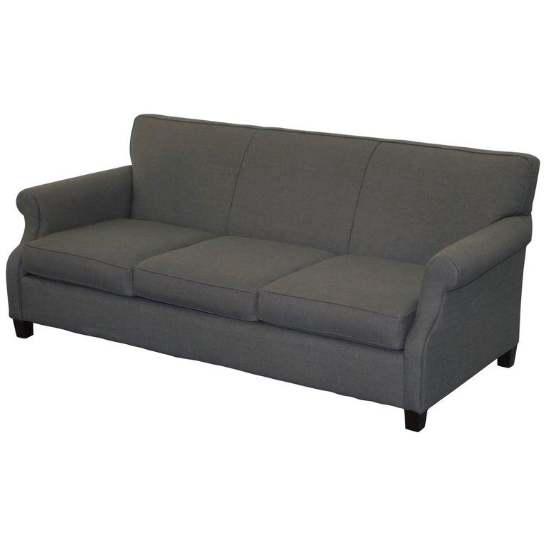 Lovely Bernhardt Sharktooth Linen Grey Upholstery Contemporary Sofa