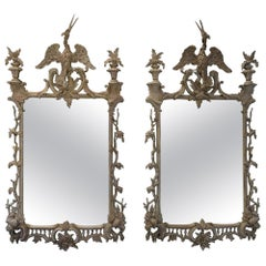 Pair of Highly Decorative Chippendale Style Painted Carved Wooden Pier Mirrors