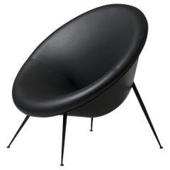 Organic Italian Design Black Metal and Black Leather Armchair