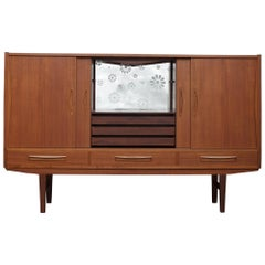 Danish Teak Highboard with a Lighted Bar from 1960s