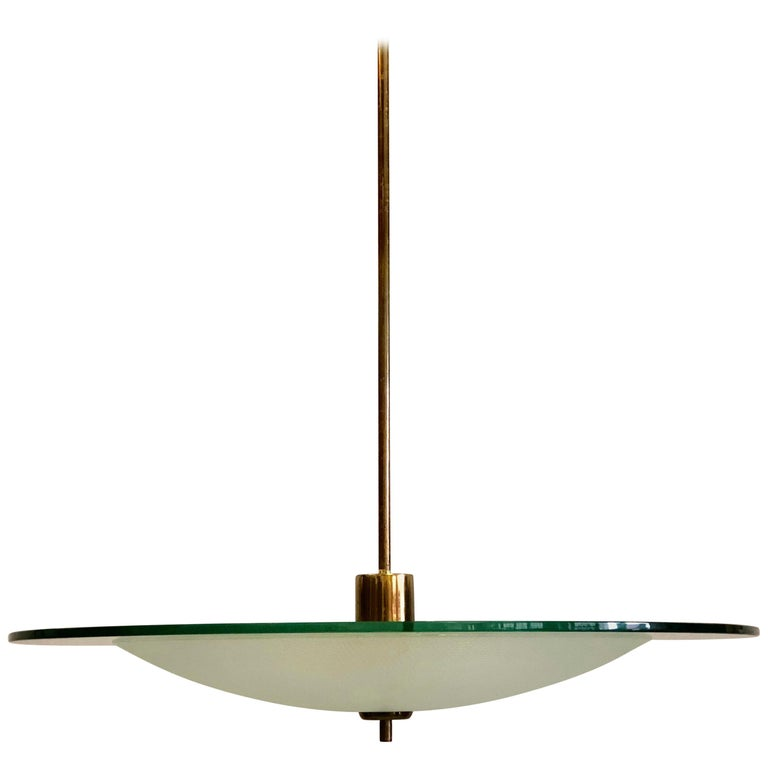Italian Glass and Brass Chandelier by Gio Ponti & Pietro Chiesa for Fontana Arte