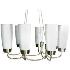 "Oswald Haerdtl, Vintage Brass and Glass Ceiling Lamp ""Globus"" by Rupert Nikoll"