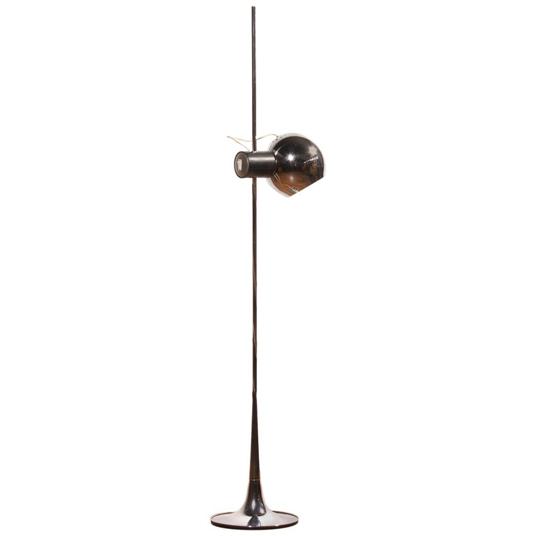 1960s, Chrome Floor Lamp by Reggiani Lampadari, Italy
