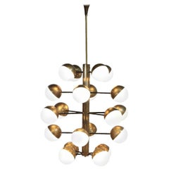 Large Modern Chandelier with 20 Lights, Italian Stilnovo Style