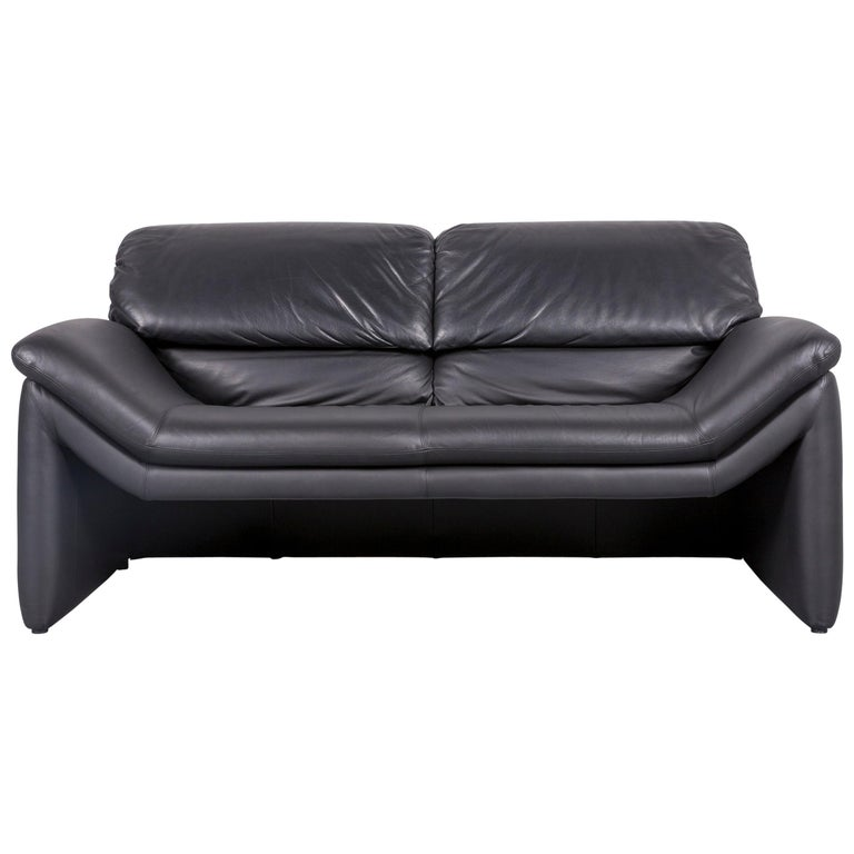 Designer Leather Sofa Black Two Seat Function For