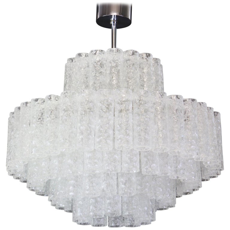 Large Murano Glass Tubes Chandelier by Doria, Germany, 1960s